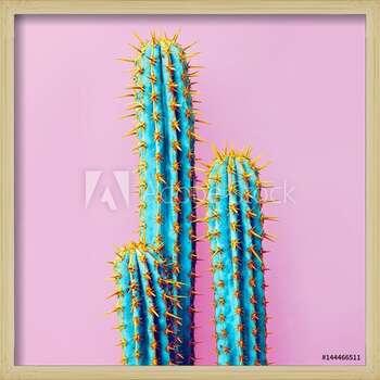 Set Neon Cactus. Minimal creative stillife Poster Incorniciato