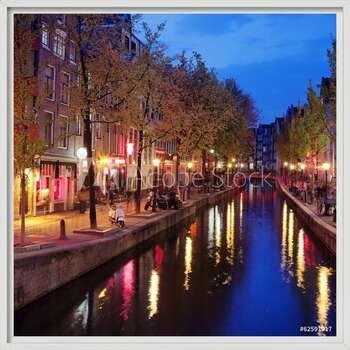 Red Light District in Amsterdam Poster Incorniciato