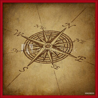 Compass rose in perspective with grunge texture Poster Incorniciato