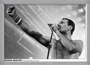 Poster incorniciato Freddie Mercury - Wembley 1984