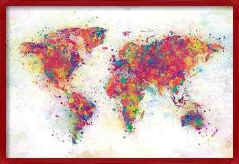 Poster incorniciato World Map - Colour Splash