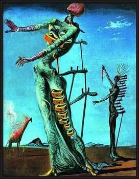 Poster incorniciato Salvador Dali - Girafe En Feu