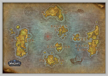 Poster incorniciato World Of Warcraft - Map
