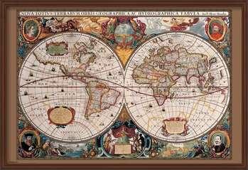 Poster incorniciato World Map - 17th Century