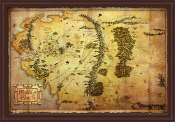 Poster incorniciato The Hobbit - Middle Earth Map
